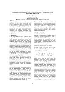 ENGINEERING MATHEMATICS EDUCATION WITH COMPUTER ALGEBRA: THE MATLAB